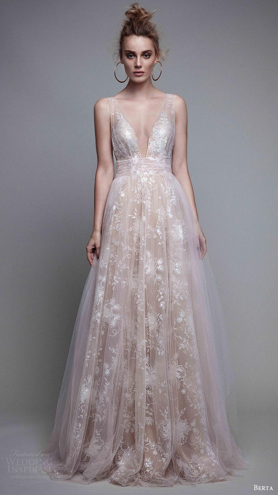 berta rtw fall 2017 (17 26) sleeveless deep vneck a line blush evening wedding dress mv romantic