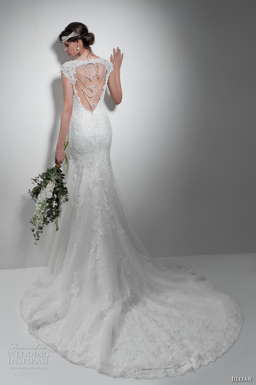 jillian 2017 bridal cap sleeves illusion boat sweetheart neckline full embellishment elegant sheath wedding dress keyhole back chapel train (melba) bv