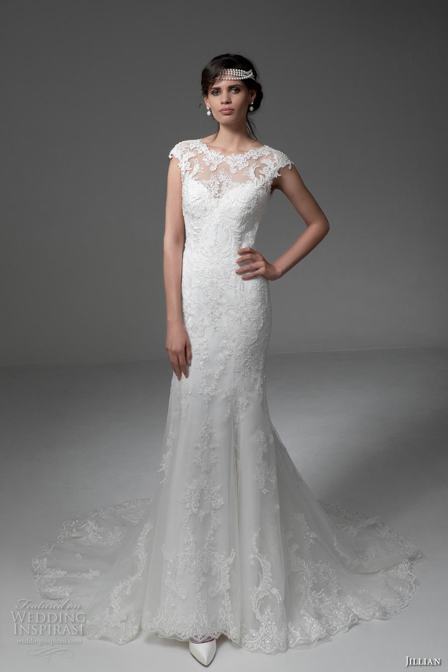 jillian 2017 bridal cap sleeves illusion boat sweetheart neckline full embellishment elegant sheath wedding dress keyhole back chapel train (melba) mv