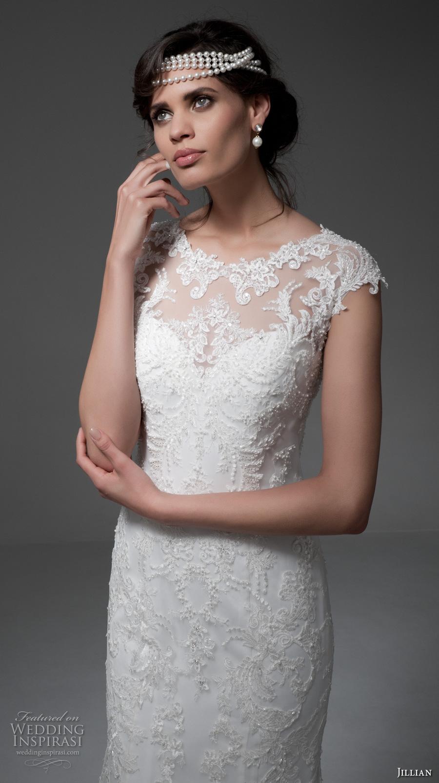 jillian 2017 bridal cap sleeves illusion boat sweetheart neckline full embellishment elegant sheath wedding dress keyhole back chapel train (melba) zv