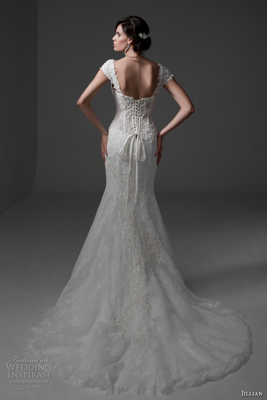jillian 2017 bridal cap sleeves sweetheart neckline bustier bodice full embellishment sexy lace mermaid wedding dress chapel train (melania) bv