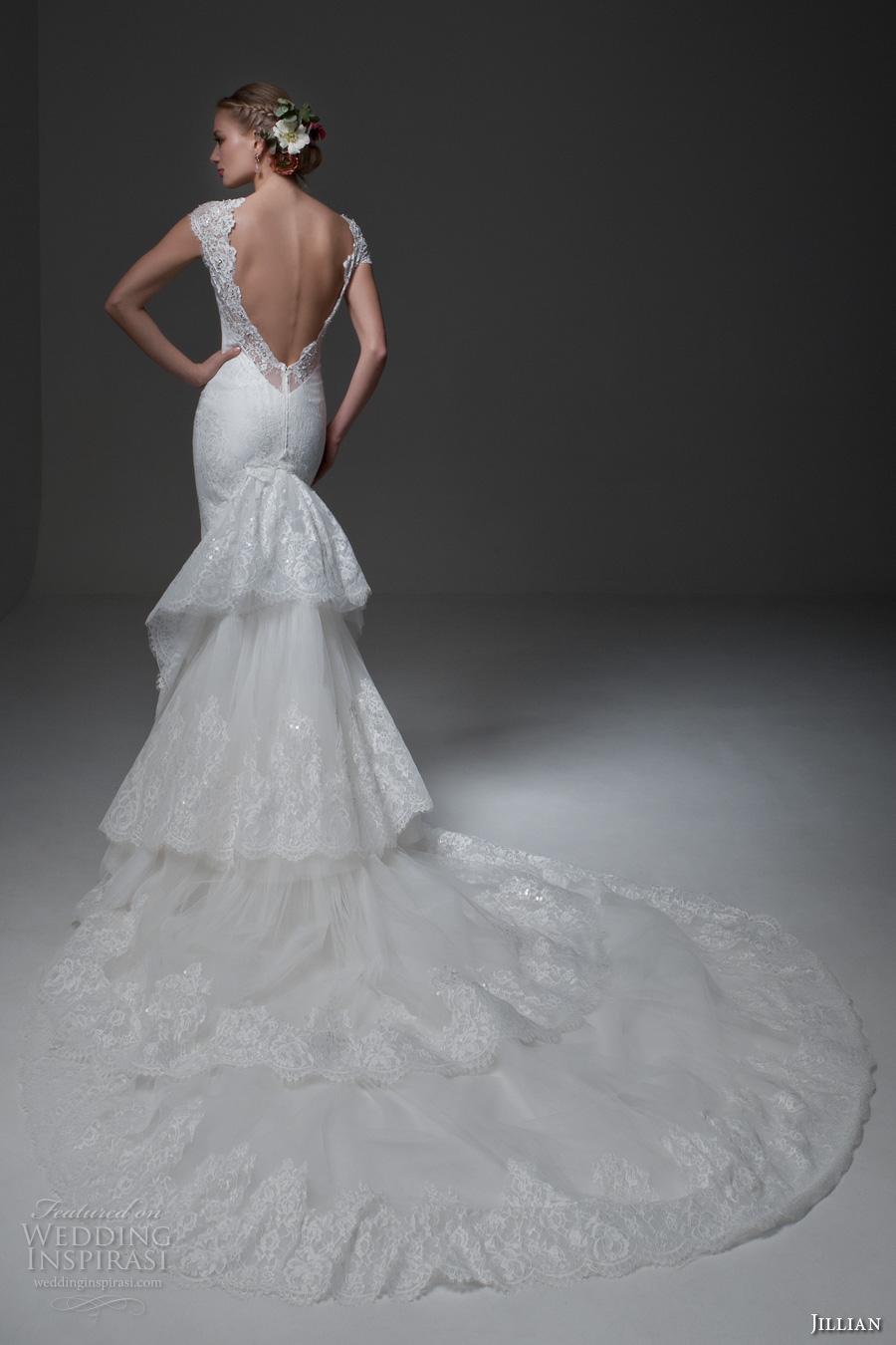 jillian 2017 bridal cap sleeves sweetheart neckline full embellishment elegant sheath wedding dress low back tiered long train (miranda) bv