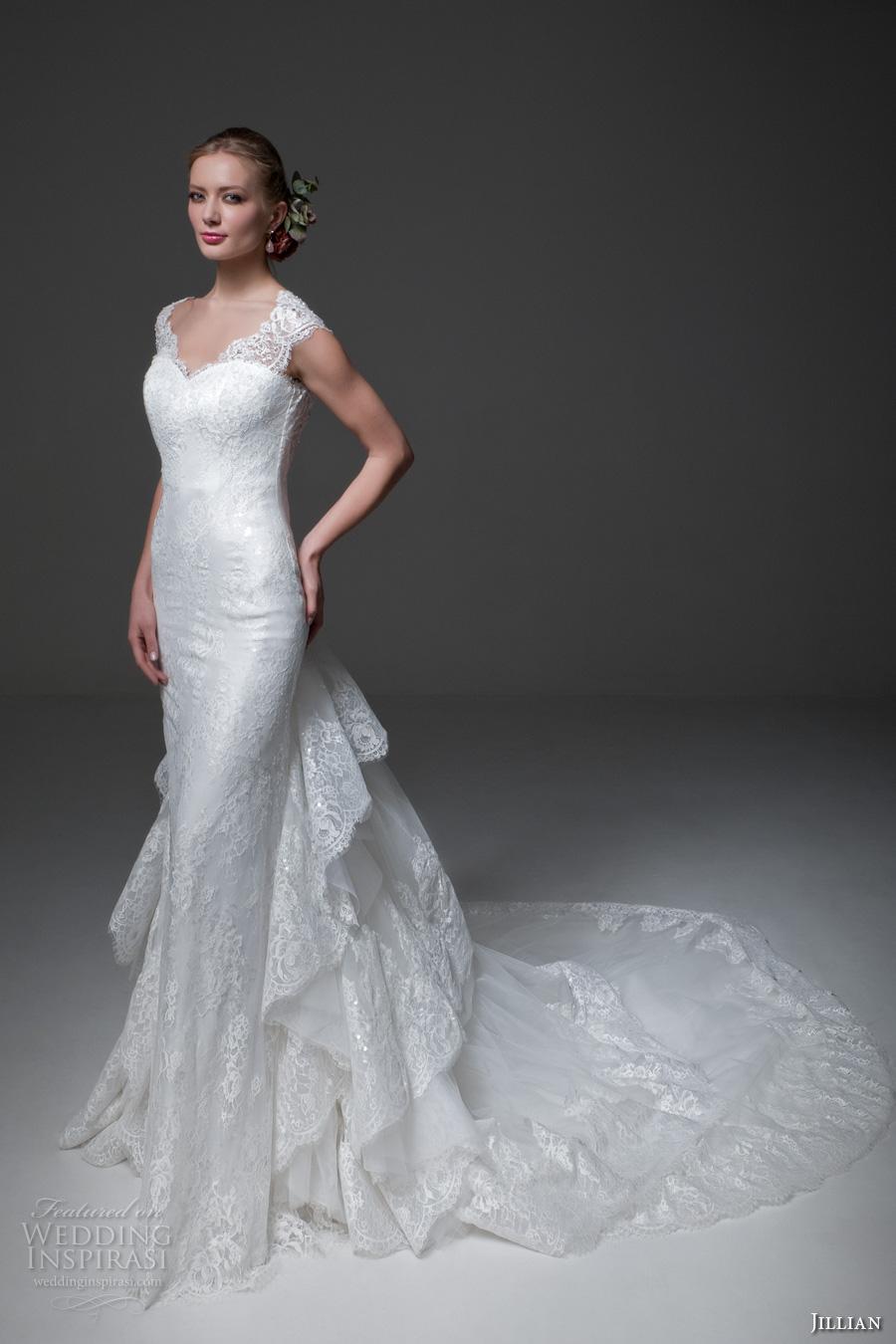 jillian 2017 bridal cap sleeves sweetheart neckline full embellishment elegant sheath wedding dress low back tiered long train (miranda) mv