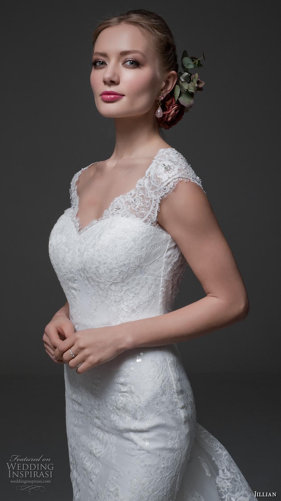 jillian 2017 bridal cap sleeves sweetheart neckline full embellishment elegant sheath wedding dress low back tiered long train (miranda) zv