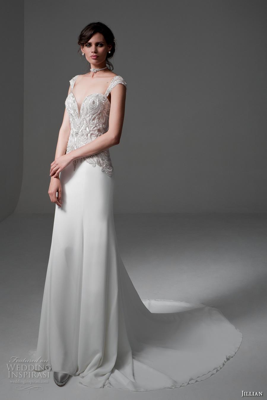 jillian 2017 bridal cap sleeves sweetheart plunging neckline heavily embellished bodice elegant sheath wedding dress sheer back chapel train (marylin) mv