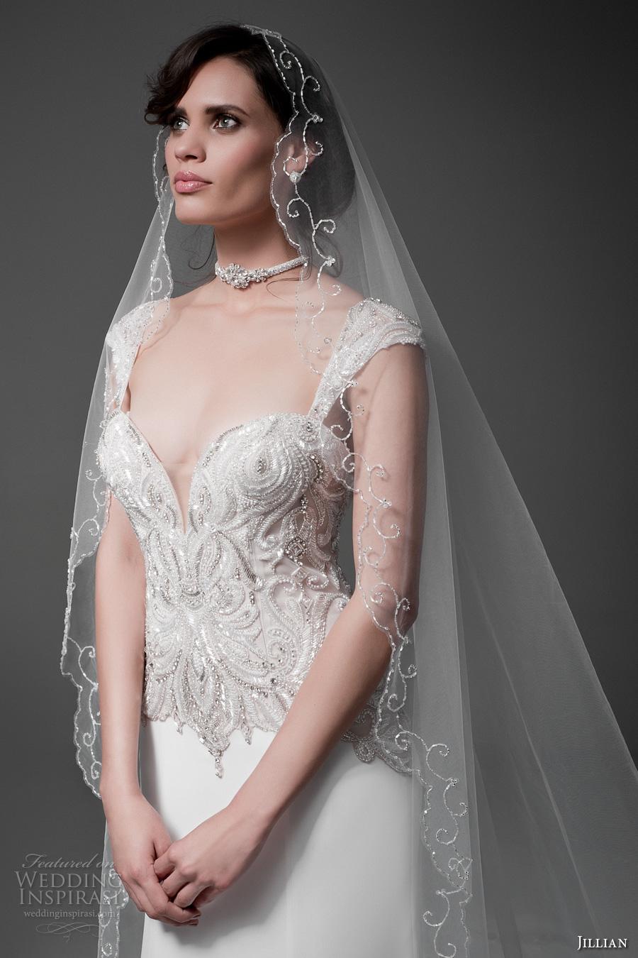 jillian 2017 bridal cap sleeves sweetheart plunging neckline heavily embellished bodice elegant sheath wedding dress sheer back chapel train (marylin) zv