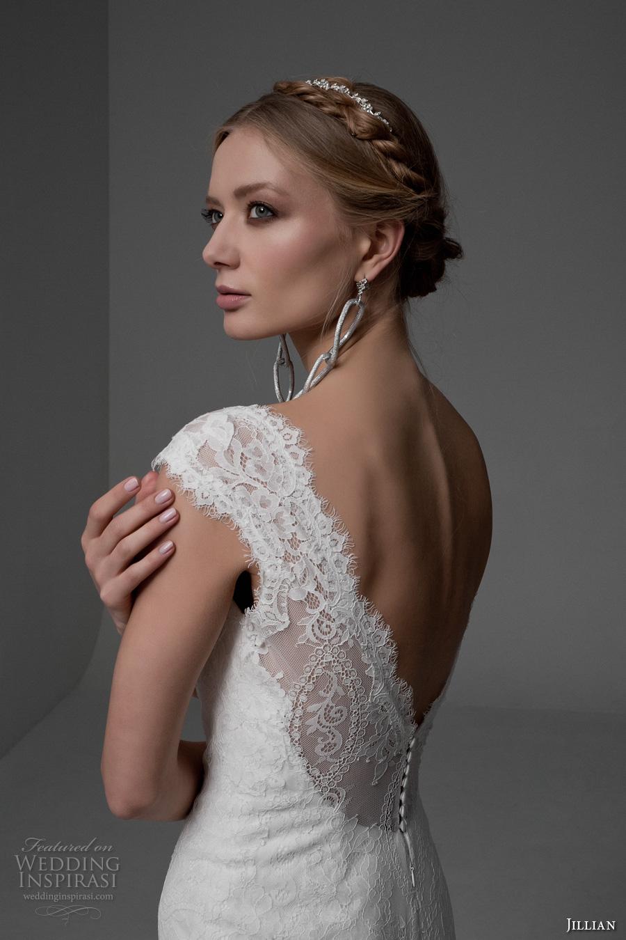 jillian 2017 bridal cap sleeves v neck full embellishment beautiful elegant mermaid wedding dress v back chapel train (manuela) zbv