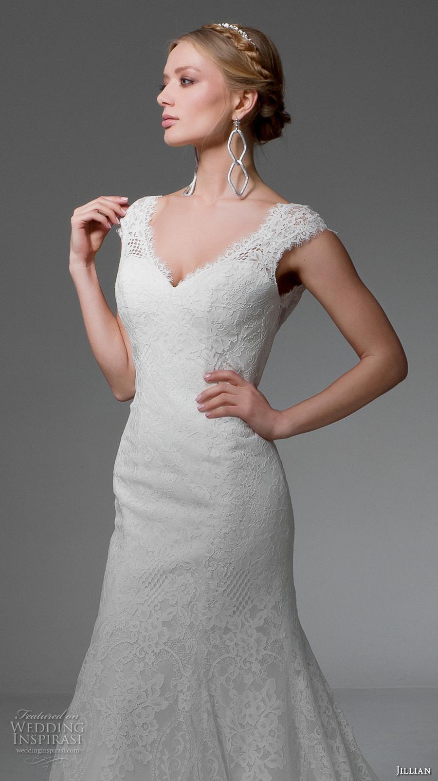 jillian 2017 bridal cap sleeves v neck full embellishment beautiful elegant mermaid wedding dress v back chapel train (manuela) zv