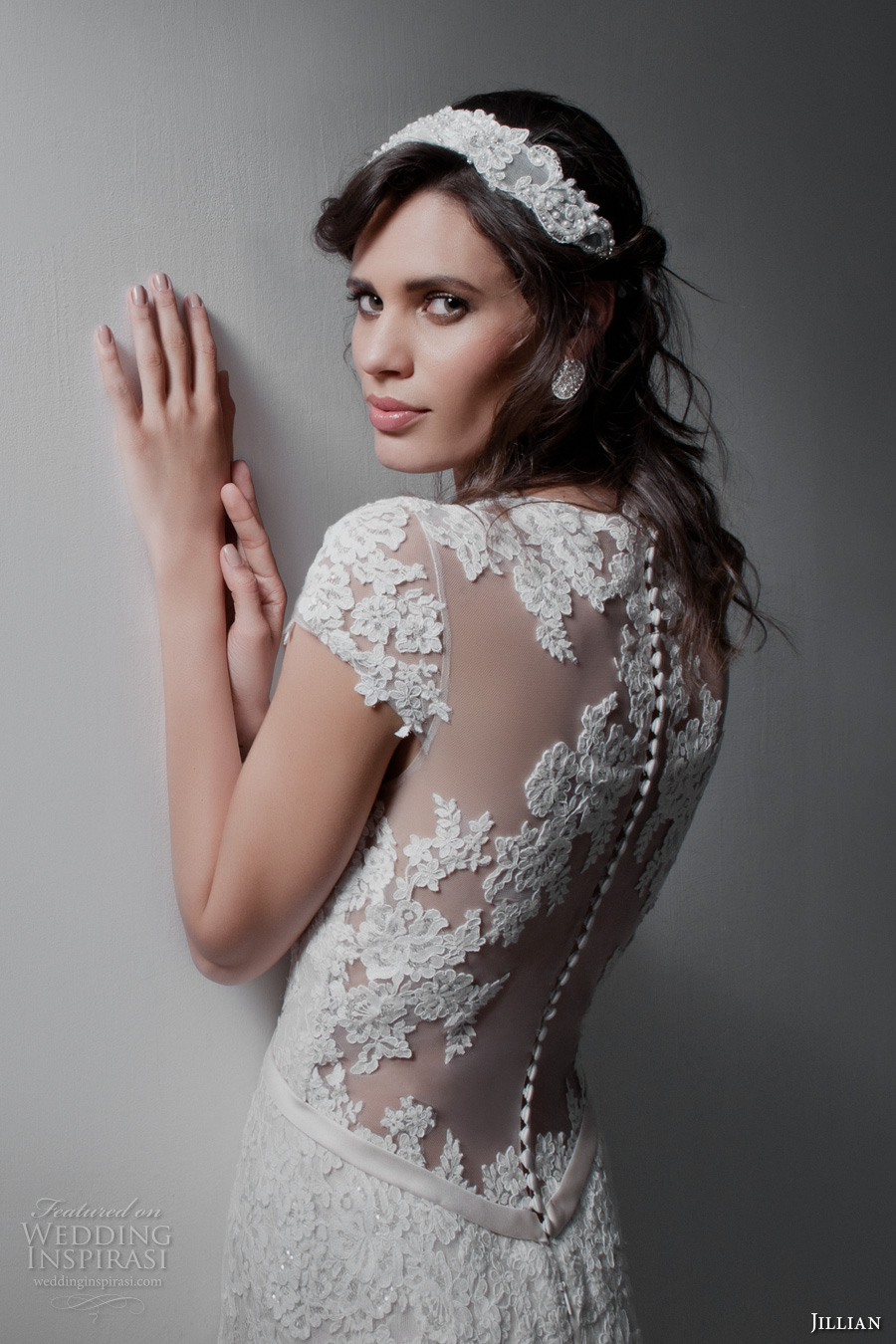 jillian 2017 bridal cap sleeves v neckline full embellishment romantic drop waist blush color a  line wedding dress illusion back chapel train (marina) zbv