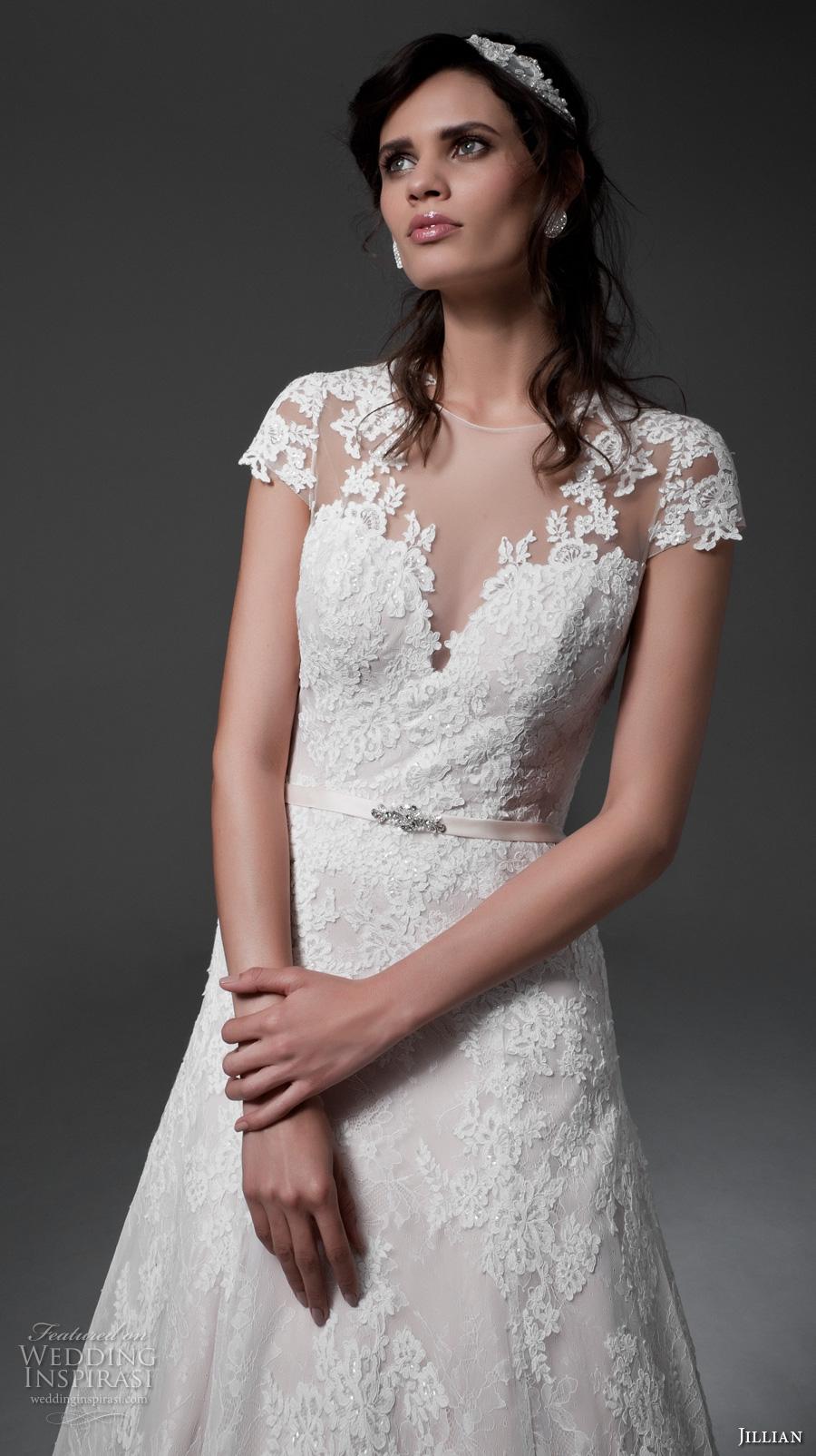 jillian 2017 bridal cap sleeves v neckline full embellishment romantic drop waist blush color a  line wedding dress illusion back chapel train (marina) zv