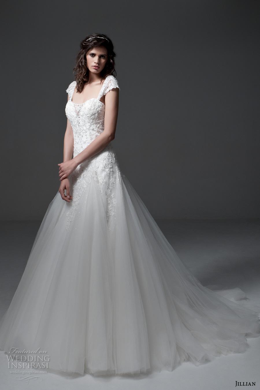 jillian 2017 bridal detachable cap sleeves strapless sweetheart neckline corset heavily embellished bodice a  line wedding dress chapel train (minnie) mv