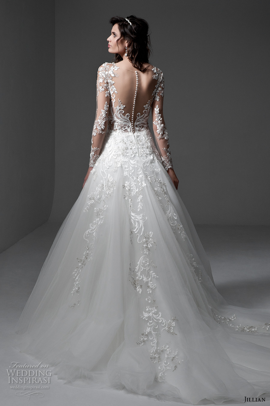 jillian 2017 bridal long sleeves v neck heavily embellished bodice lace embroidered gorgeous elegant a  line wedding dress illusion back chapel train (michela) bv