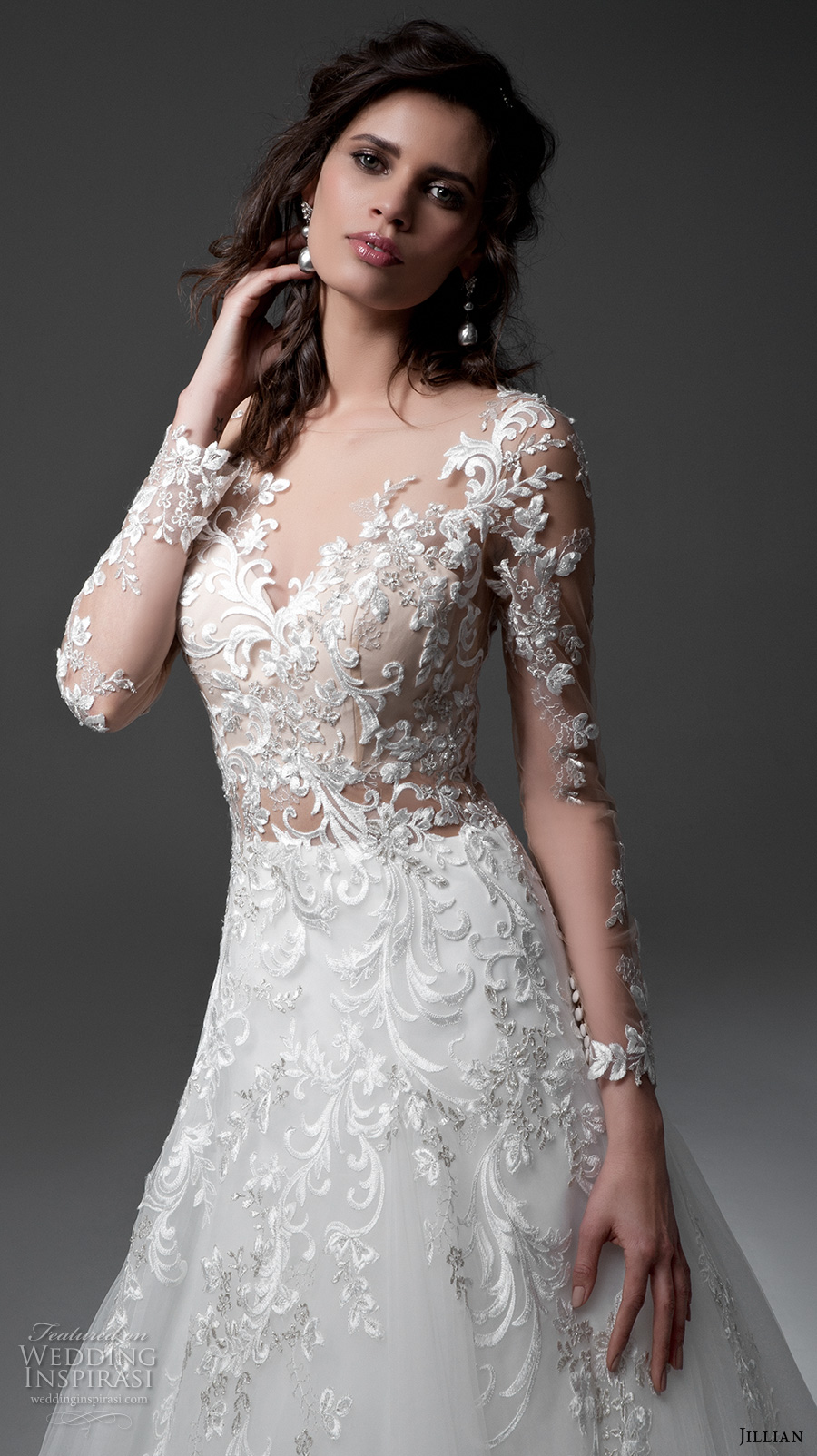 collections wedding dresses products long sleeves neck bodice gowns back lace dress chea