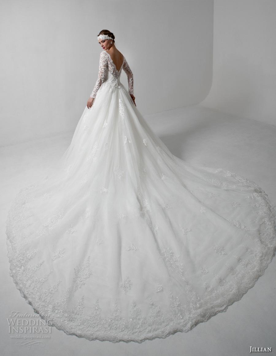 jillian 2017 bridal long sleeves v neck heavily embellished bodice princess a  line wedding dress v back monarch train (melody) bv