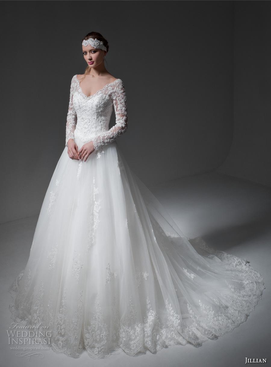 jillian 2017 bridal long sleeves v neck heavily embellished bodice princess a  line wedding dress v back monarch train (melody) mv