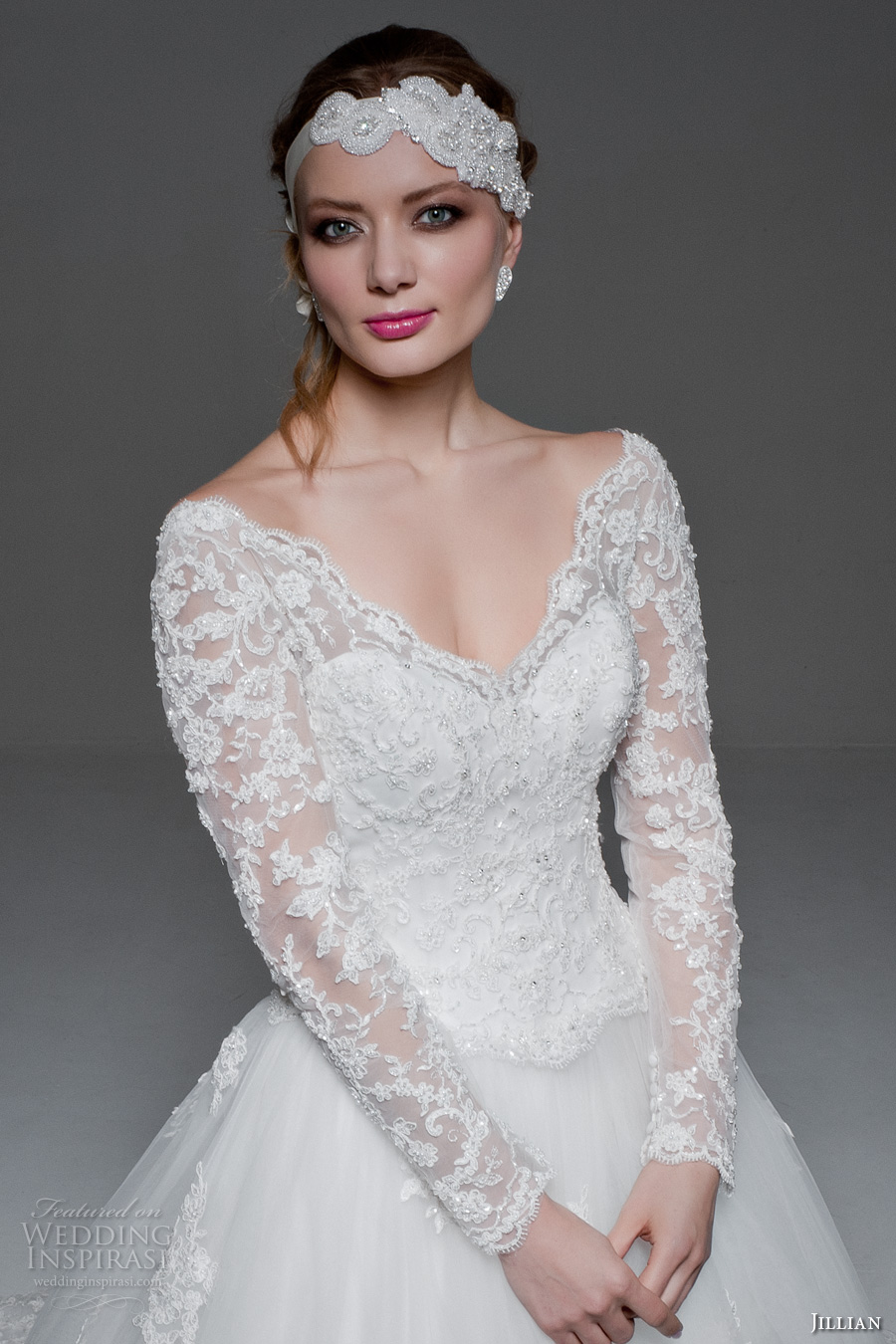jillian 2017 bridal long sleeves v neck heavily embellished bodice princess a  line wedding dress v back monarch train (melody) zv