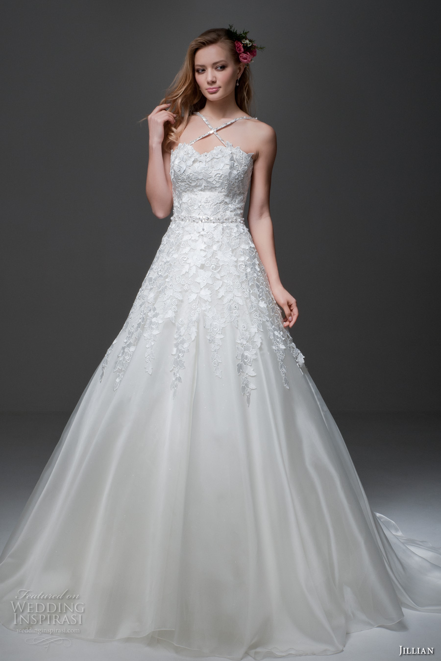 jillian 2017 bridal sleeveless cross strap sweetheart neckline heavily embellished bodice romantic a  line wedding dress chapel train (misha) mv