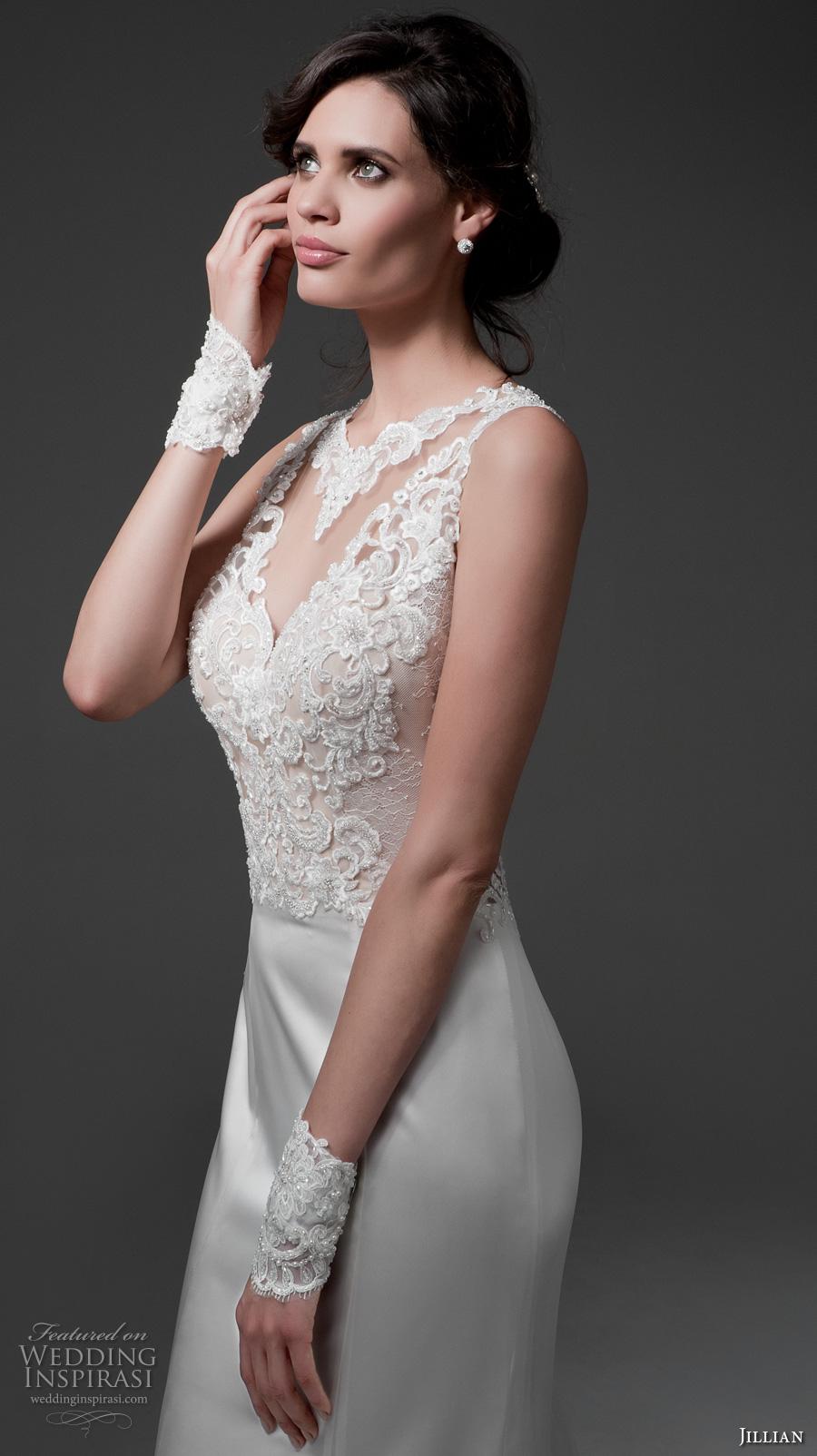 jillian 2017 bridal sleeveless illusion jewel v neckline heavily embellished bodice satin skirt elegant sheath wedding dress illusion back chapel train (mirta) zv