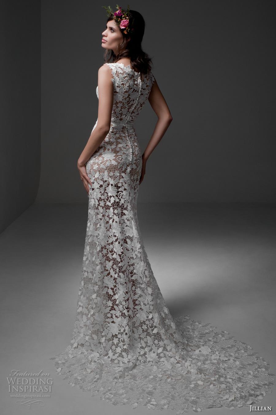 jillian 2017 bridal sleeveless jewel neckline full embellishment lace embroidered romantic elegant sheath wedding dress chapel train (meg) mv