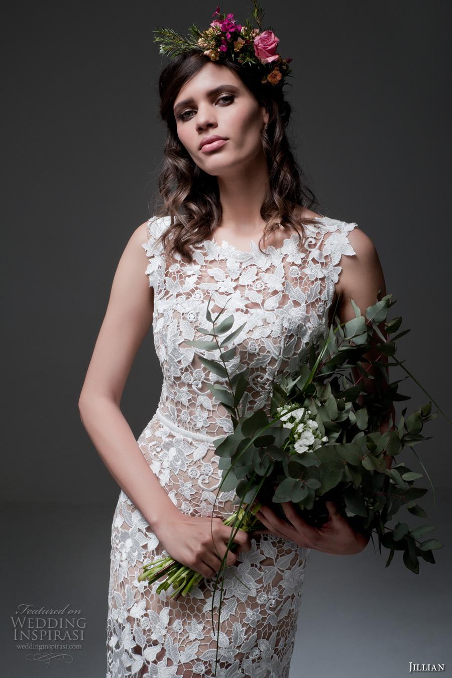 jillian 2017 bridal sleeveless jewel neckline full embellishment lace embroidered romantic elegant sheath wedding dress chapel train (meg) zv
