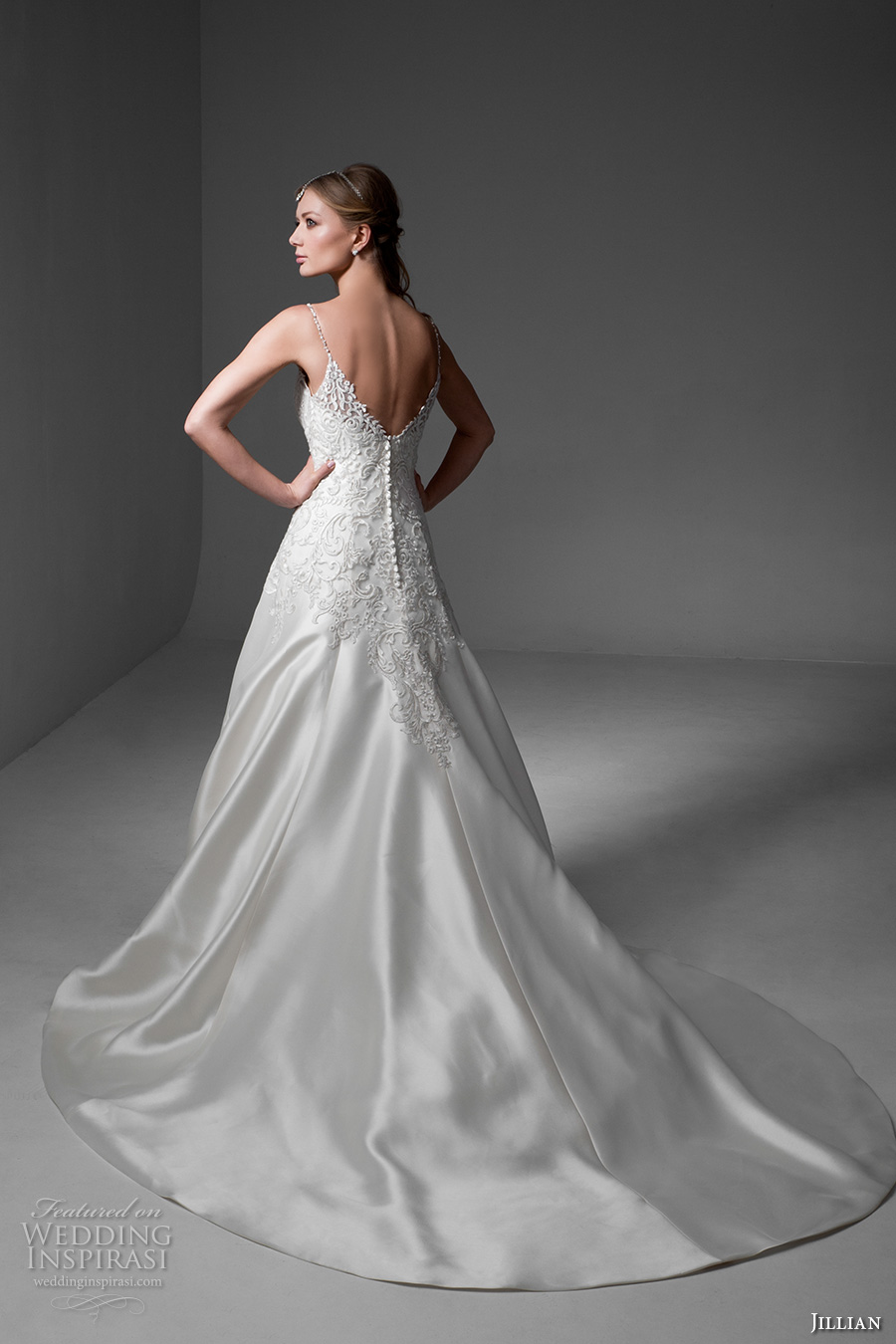 jillian 2017 bridal sleeveless spagetti strap v neck heavily embellished bodice satin glamorous a  line wedding dress v back chapel train (maria) bv