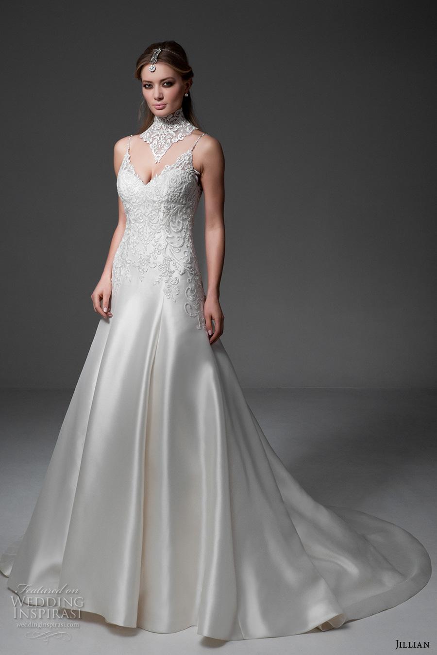 jillian 2017 bridal sleeveless spagetti strap v neck heavily embellished bodice satin glamorous a  line wedding dress v back chapel train (maria) mv