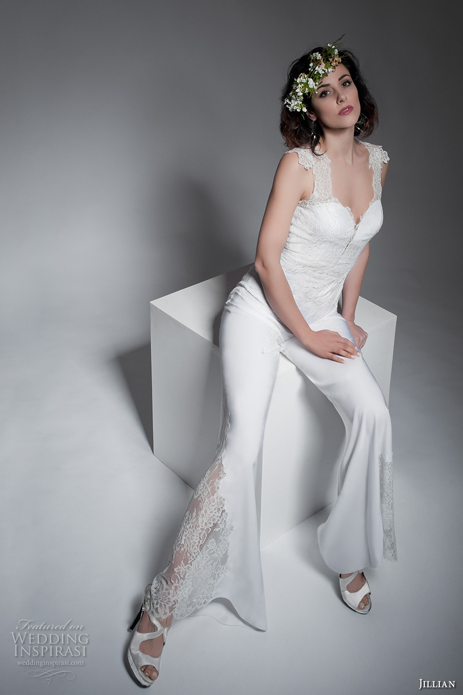 jillian 2017 bridal sleeveless thick straps sweetheart neckline heavily embellished top and pants sophiscated wedding dress illusion back (maeva) mv