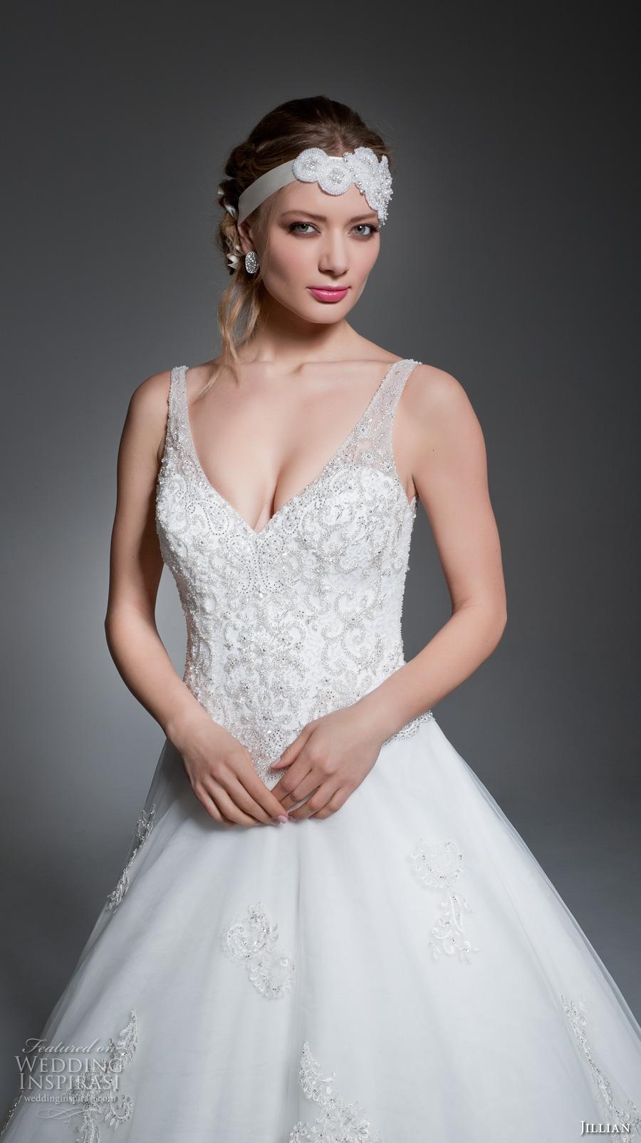jillian 2017 bridal sleeveless v back heavily embellished bodice romantic a  line wedding dress v back royal train (madyson) zv