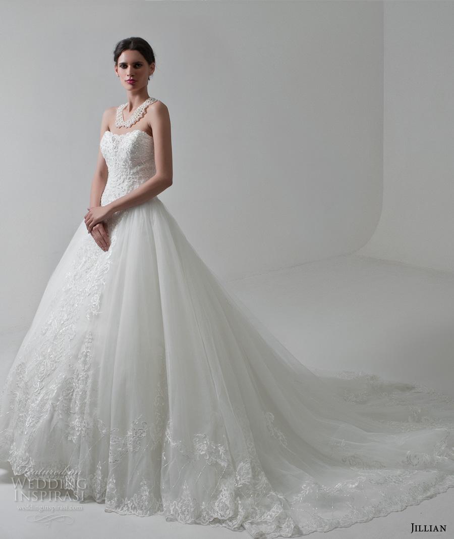 jillian 2017 bridal strapless semi sweetheart neckline heavily embellished bodice romantic princess ball gown a  line weddnig dress long train (mitzi) mv