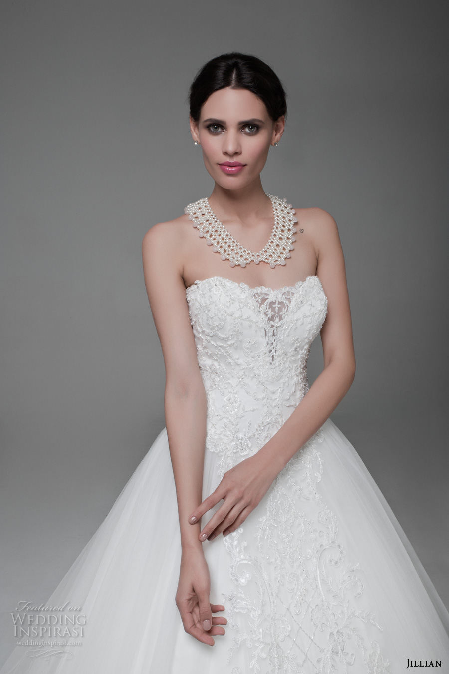 jillian 2017 bridal strapless semi sweetheart neckline heavily embellished bodice romantic princess ball gown a  line weddnig dress long train (mitzi) zv