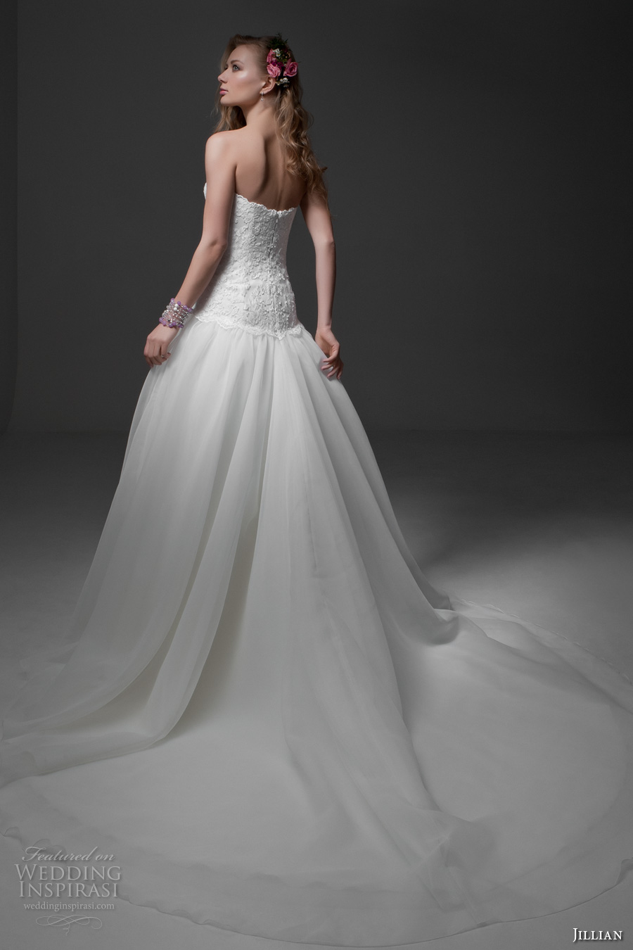 jillian 2017 bridal strapless straight across neckline heavily embellished bodice tulle skirt drop waist romantic a  line wedding dress chapel train (mariella) bv