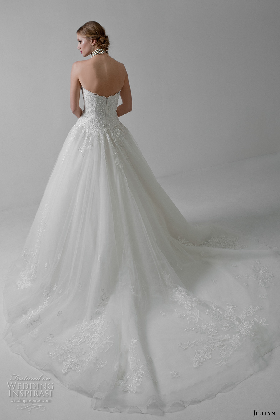 jillian 2017 bridal strapless sweetheart neckline heavily embellished bodice classic a  line wedding dress chapel train (marlene) bv