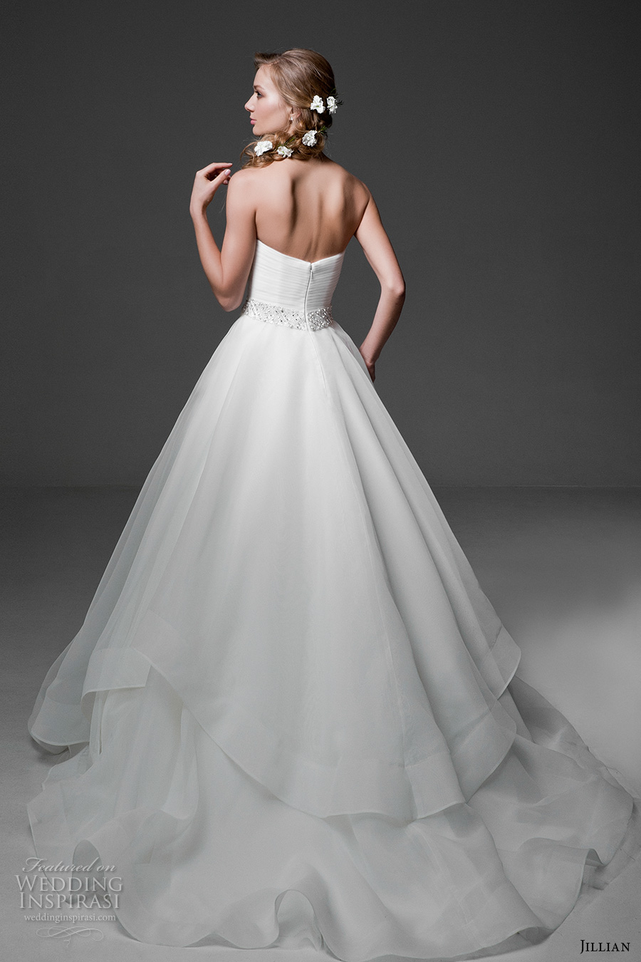jillian 2017 bridal strapless sweetheart neckline surplice bodice simple classic a  line wedding dress chapel train (mia) bv