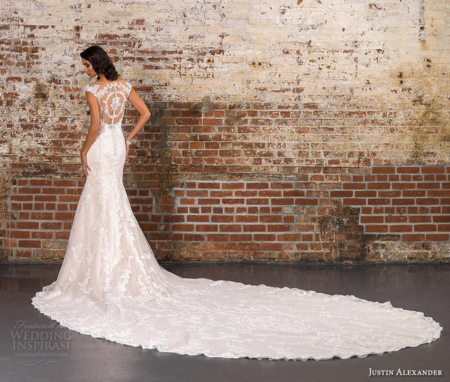 justin alexander spring 2017 bridal cap sleeves illusion boat sweetheart neckline fully embellished elegant classic mermaid wedding dress illusion back long royal train (9845) bv