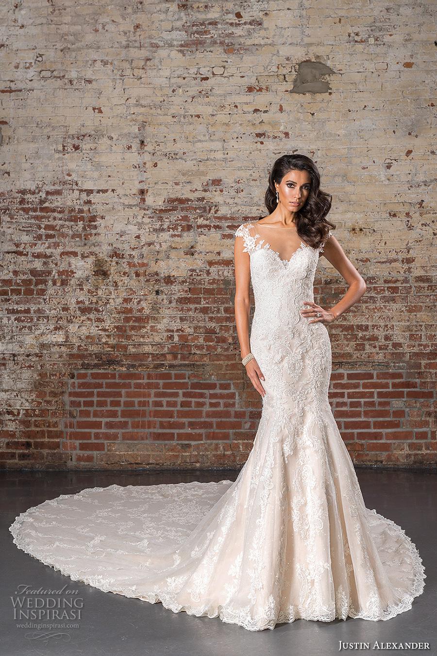 justin alexander spring 2017 bridal cap sleeves illusion boat sweetheart neckline fully embellished elegant classic mermaid wedding dress illusion back long royal train (9845) mv