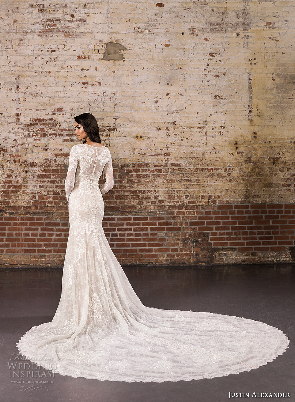 justin alexander spring 2017 bridal long sleeves jewel neckline full embellishment elegant lace fit and flare wedding dress illusion back royal train (9856) bv