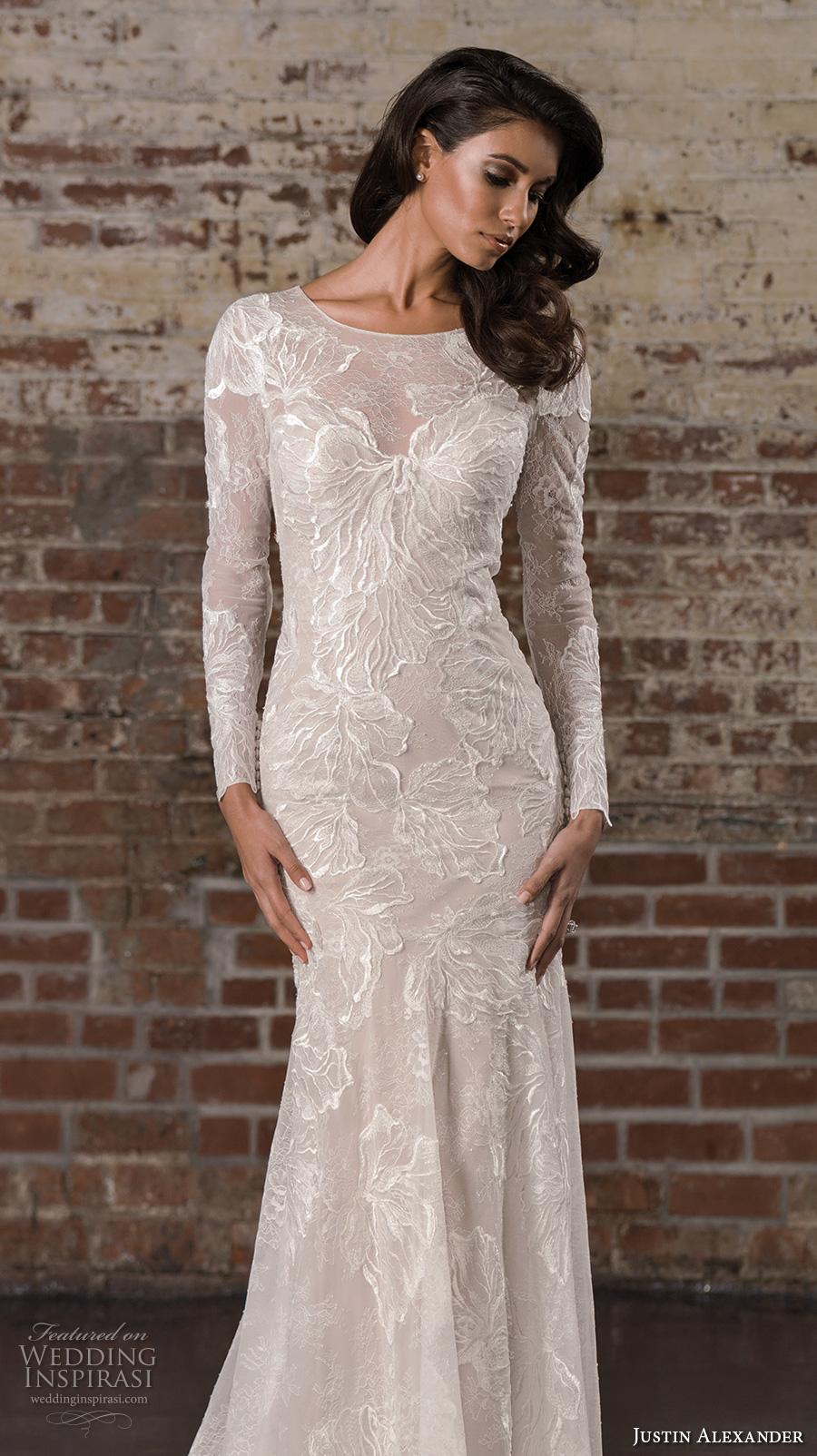justin alexander spring 2017 bridal long sleeves jewel neckline full embellishment elegant lace fit and flare wedding dress illusion back royal train (9856) zv