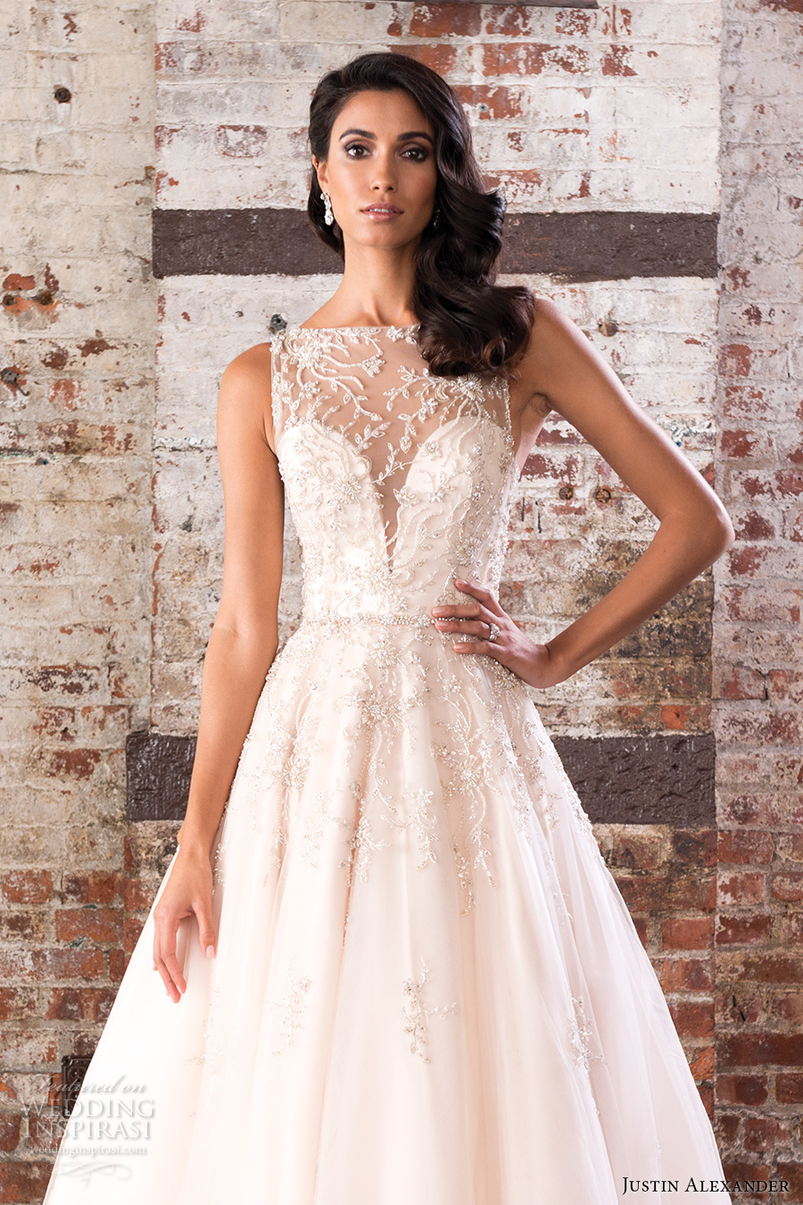 justin alexander spring 2017 bridal sleeveless illusion bateau neckline sweetheart deep plunging neckline pretty romantic a  line wedding dress v back chapel train (9848) zv