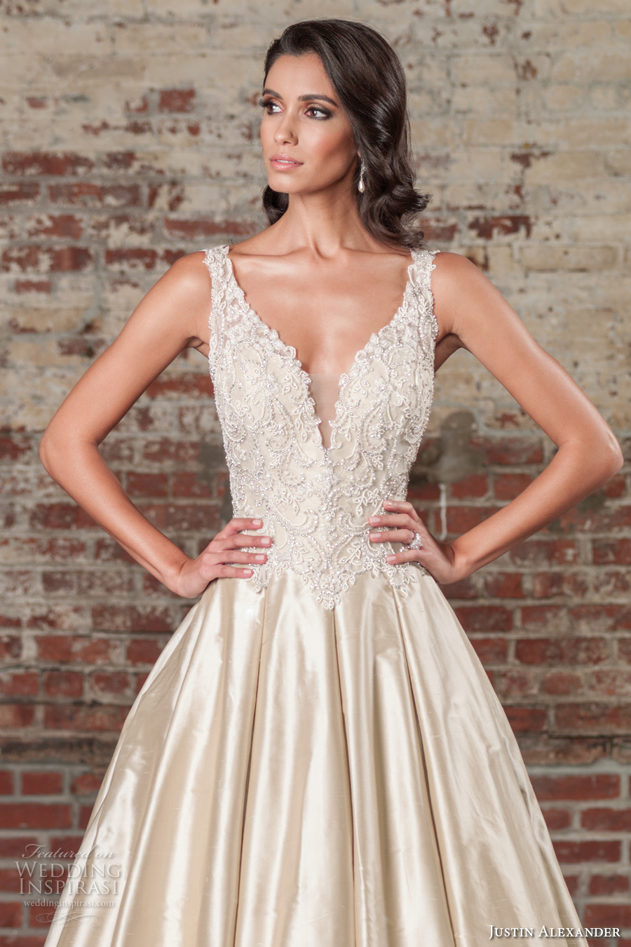 justin alexander spring 2017 bridal sleeveless thick strap deep plunging v neck heavily embellished bodice satin skirt champagne color elegant a  line wedding dress v back chapel train (9855) zv
