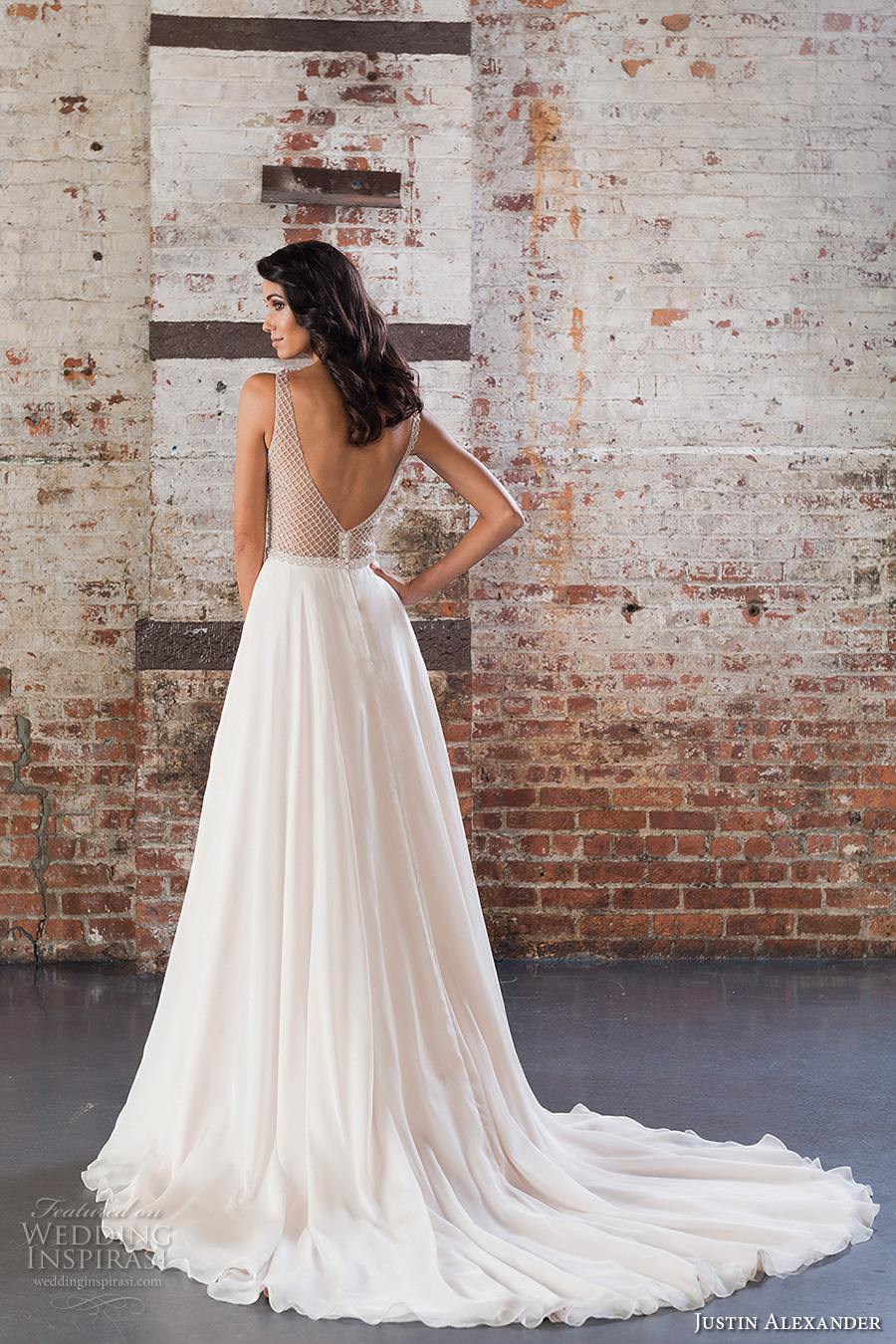 justin alexander spring 2017 bridal sleeveless v neck heavily embellished bodice flowy skirt romantic modified a  line wedding dress v back chapel train (9849) bv