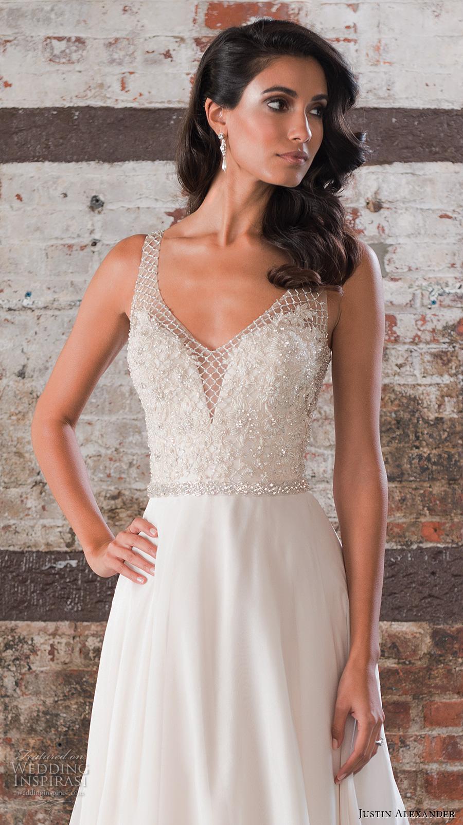 justin alexander spring 2017 bridal sleeveless v neck heavily embellished bodice flowy skirt romantic modified a  line wedding dress v back chapel train (9849) zv