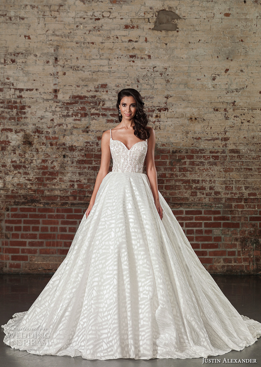 justin alexander spring 2017 bridal spagetti strap sweetheart neckline heavily embellished bodice princess ball gown a  line wedding dress long monarch train (9864) mv