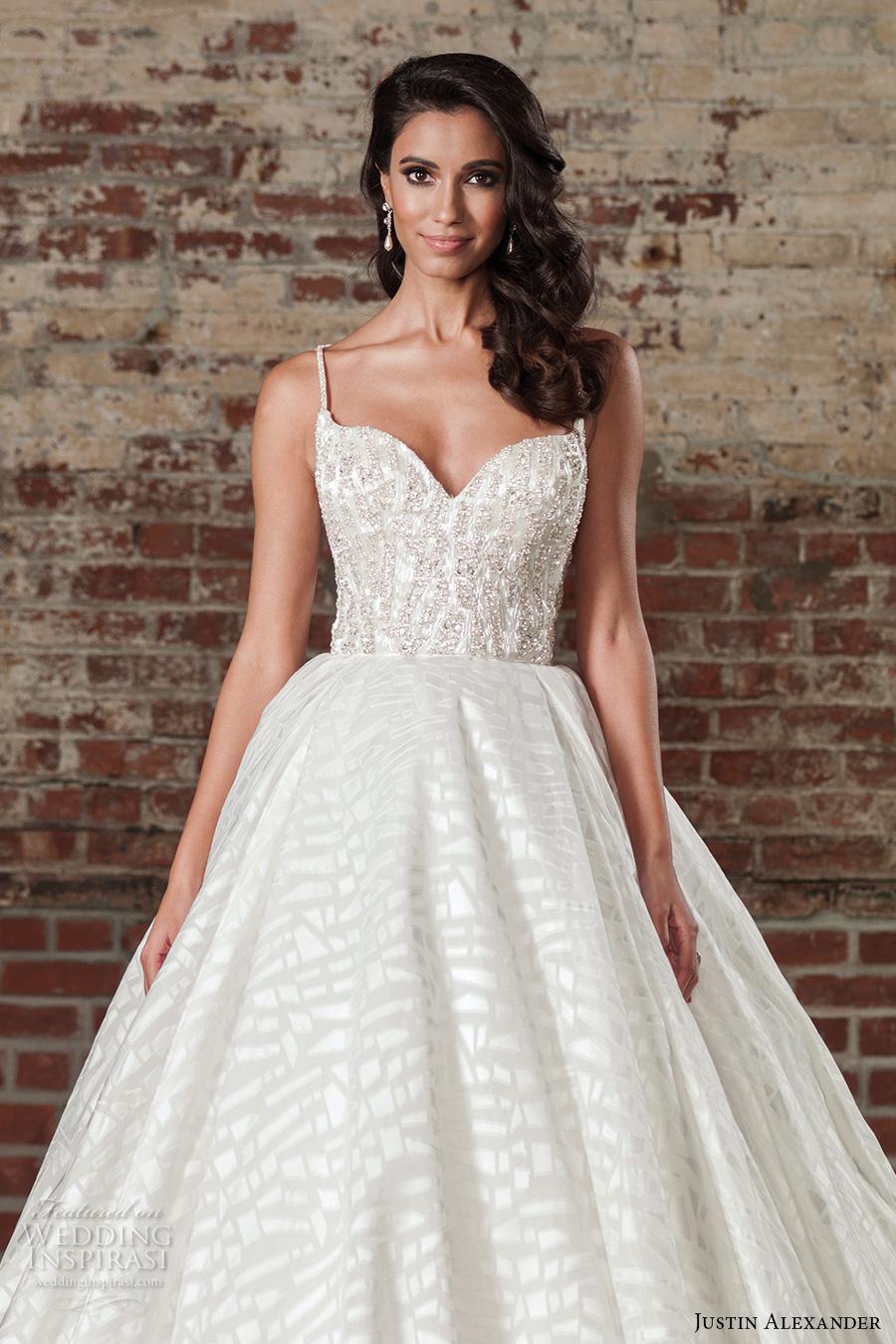 justin alexander spring 2017 bridal spagetti strap sweetheart neckline heavily embellished bodice princess ball gown a  line wedding dress long monarch train (9864) zv