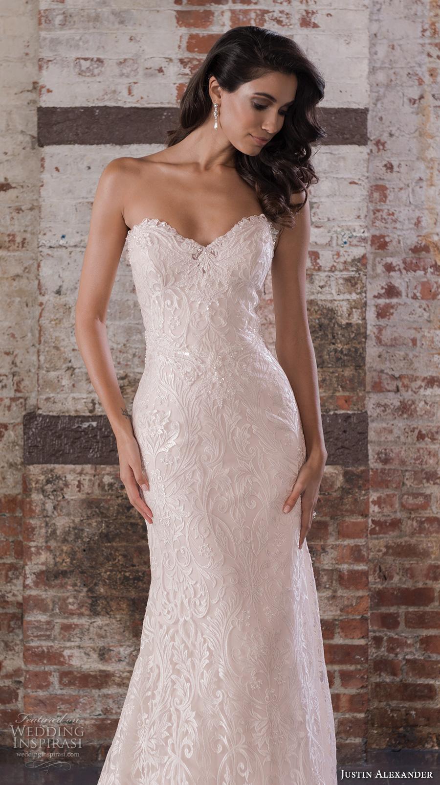 justin alexander spring 2017 bridal strapless sweetheart neckline full embellishment bodice classic elegant fit and flare wedding dress chapel train (9857) zv