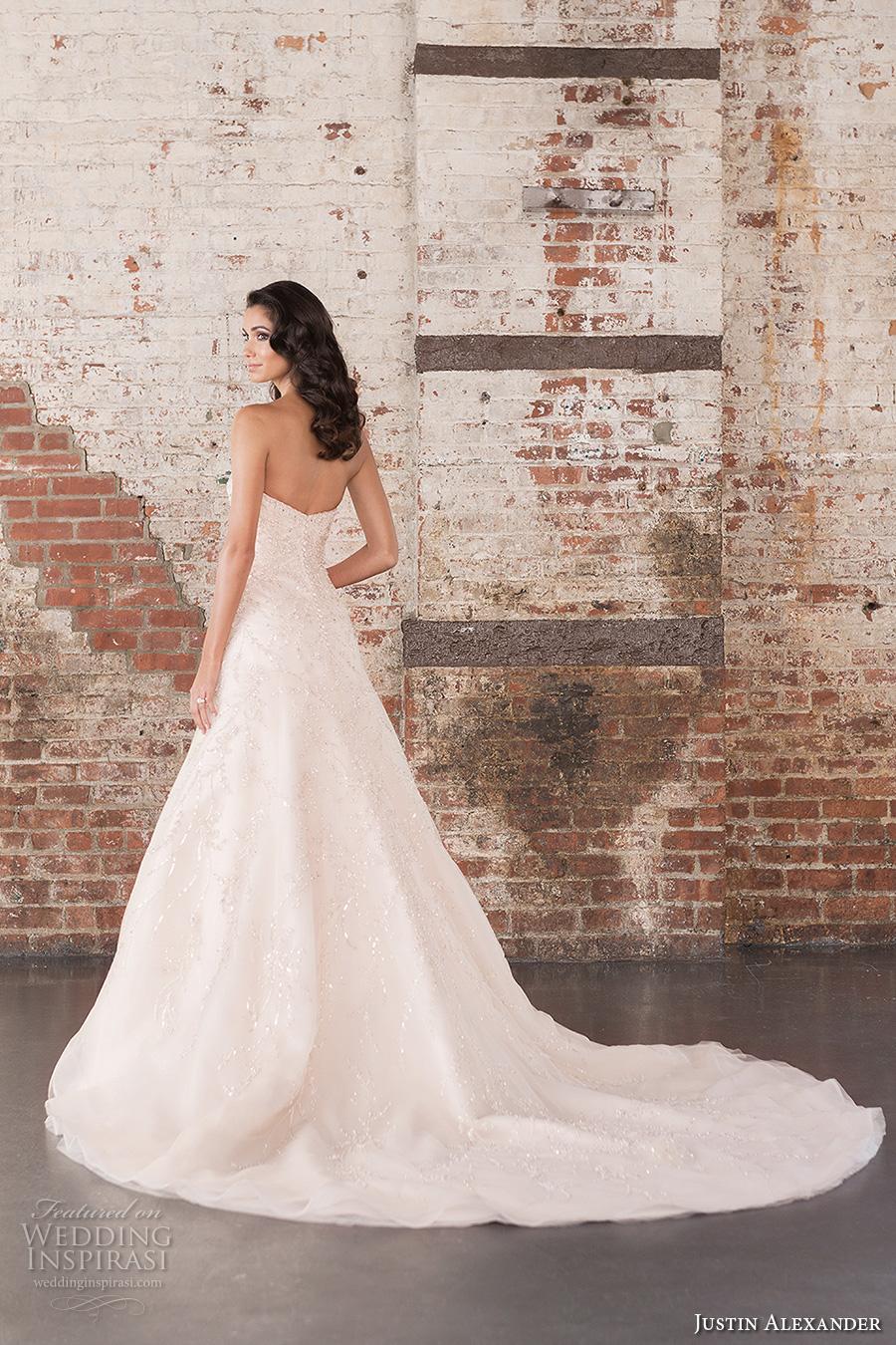 justin alexander spring 2017 bridal strapless sweetheart neckline heavily embellished bodice beautiful classic a  line wedding dress chapel train (9851) bv