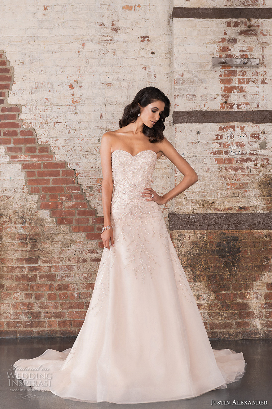 justin alexander spring 2017 bridal strapless sweetheart neckline heavily embellished bodice beautiful classic a  line wedding dress chapel train (9851) mv