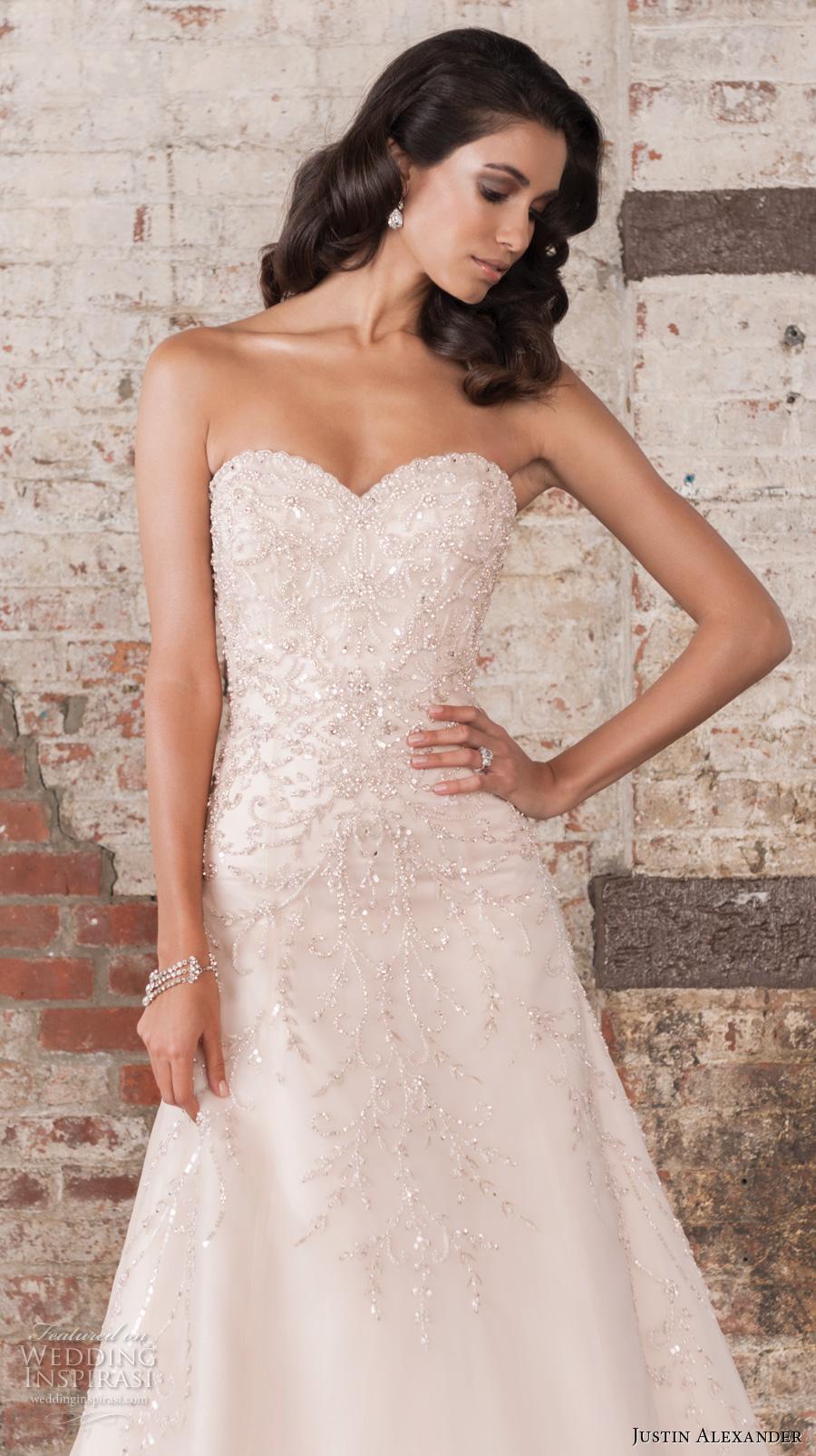 justin alexander spring 2017 bridal strapless sweetheart neckline heavily embellished bodice beautiful classic a  line wedding dress chapel train (9851) zv