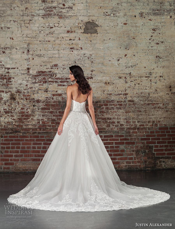 justin alexander spring 2017 bridal strapless sweetheart neckline heavily embellished bodice beautiful princess a  line overskirt wedding dress chapel train (9862) bv
