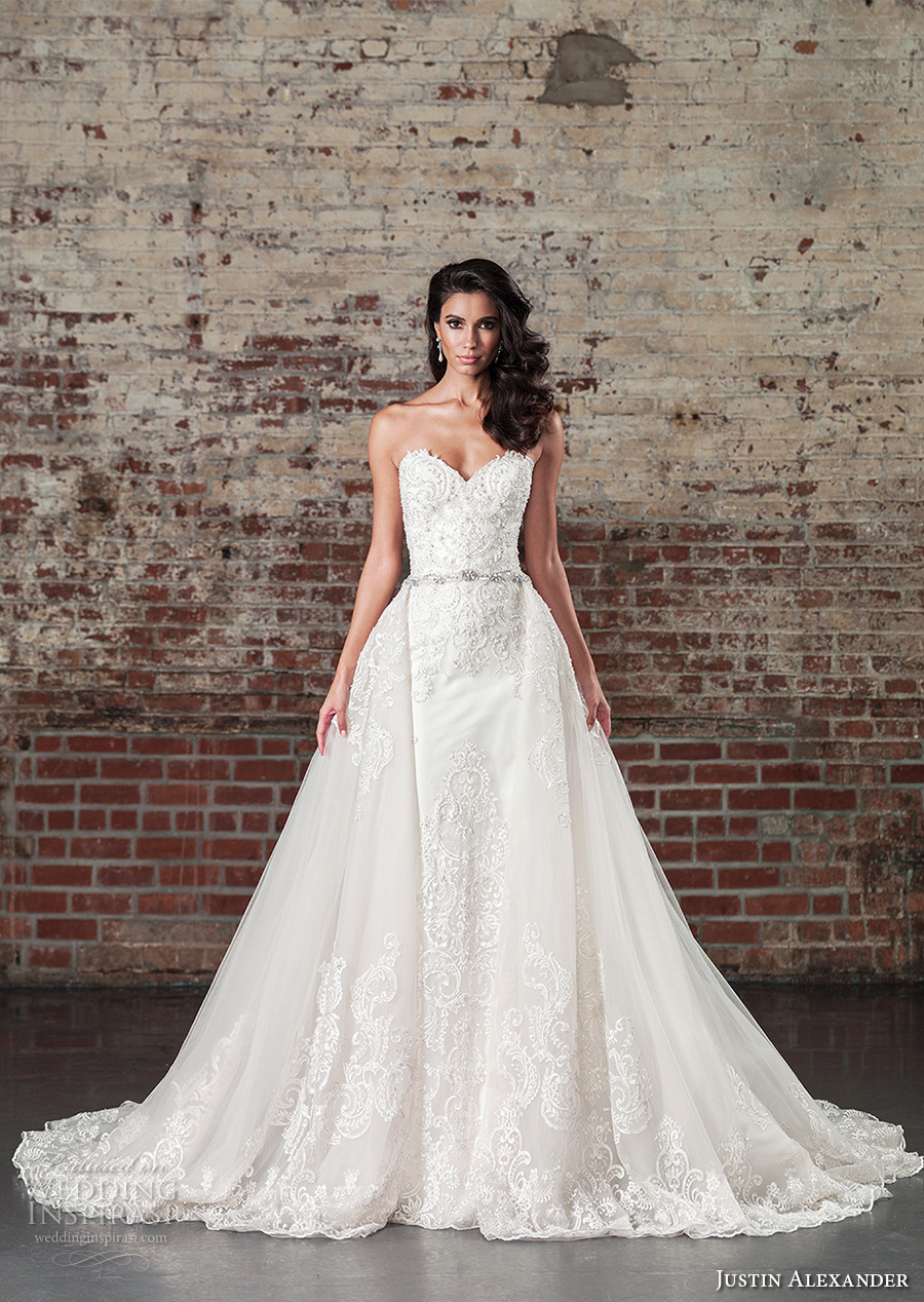justin alexander spring 2017 bridal strapless sweetheart neckline heavily embellished bodice beautiful princess a  line overskirt wedding dress chapel train (9862) mv