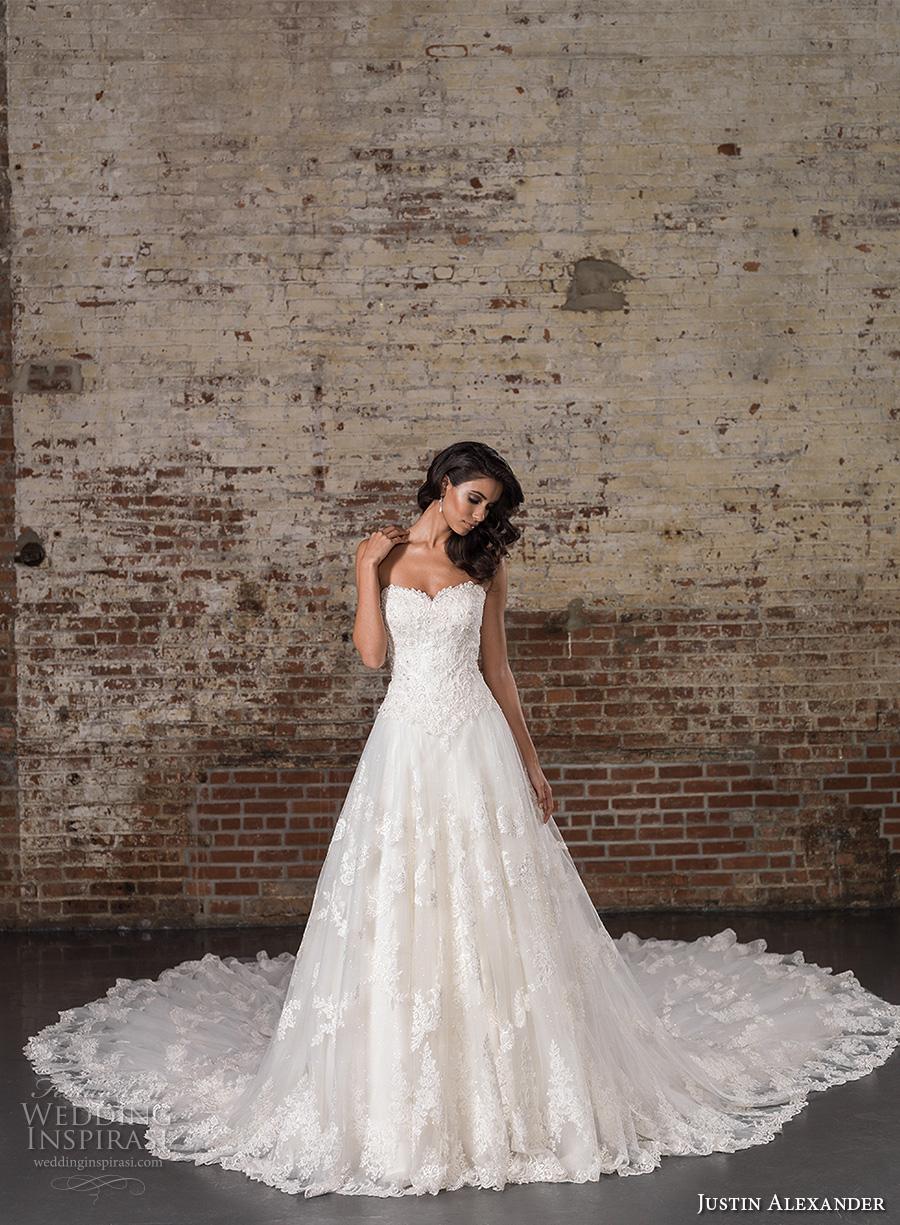 justin alexander spring 2017 bridal strapless sweetheart neckline heavily embellished bodice classic lace a  line wedding dress long train (9860) mv